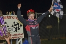 Christian Hanger celebrates his $3,000 King of Crates victory Oct. 18 on the Crate Racin' USA Series at North Alabama Speedway. (Brian McLeod/Dirt Scenes)