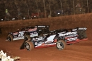 Brandon Overton (76) leads Brent Dixon (1) on his way to victory in Friday's Carolina Clash event at Lavonia Speedway. (Richard Barnes)