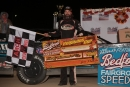 Gregg Satterlee holds his $20,000 check for winning the Oct. 24 Keystone Cup at Bedford (Pa.) Speedway. (Rick Neff)