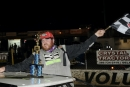 Shan Smith climbs from his car after winning Saturday's Florida Late Model Challenge Series season finale at Volusia Speedway Park. (daveshankphoto.com)