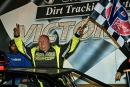 Jason Welshan emerges in victory lane Jan. 10 at Talladega Short Track in Eastaboga, Ala., after his Crate Racin' USA Winter Shootout victory. (Brian McLeod/Dirt Scenes)