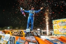 Kyle Bronson celebrates his World of Outlaws Morton Buildings Late Model Series opening victory Jan. 14 at Volusia Speedway Park in Barberville, Fla. (jacynorgaardphotography.com)