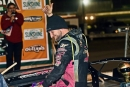 Michael Page climbs from his car Jan. 14 at Volusia Speedway Park in Barberville, Fla., after his Crate Racin' USA Winter Shootout victory. (Brian McLeod/Dirt Scenes)