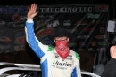 Jonathan Davenport waves to the crowd after winning Sunday's $25,000 Keyser Manufacturing Wild West Shootout finale at FK Rod Ends Arizona Speedway. (mikerueferphotos.photoreflect.com)