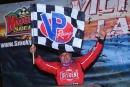 Chris Madden emerges in victory lane March 6 at Smoky Mountain Speedway in Maryville, Tenn., after his 29th career World of Outlaws Morton Buildings Late Model Series victory. (joshjamesartwork.com)