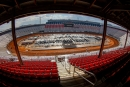 The infield filled with haulers before April 8's World of Outlaws Morton Buildings Late Model Series practice at Bristol (Tenn.) Motor Speedway. (Tyler Carr)