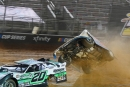 After leader Jimmy Owens (20) lost a wheel in April 9's WoO race at Bristol, Kyle Strickler (8) went for a wild ride. No one was seriously injured. (dt52photos.com)