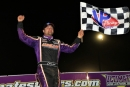 Brandon Overton celebrates April 17's Ultimate Southeast victory in the Jack Starrette Memorial at Modoc (S.C.) Raceway. (Richard Barnes)