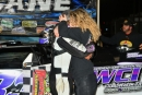 Jensen Ford is welcomed to victory lane by wife Deserie after his first Southern All Star victory April 17 at Smoky Mountain Speedway in Maryville, Tenn. (mrmracing.net)