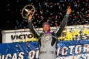 Jonathan Davenport celebrates his first Lucas Oil Late Model Dirt Series victory of 2021 on April 18 at Port Royal (Pa.) Speedway. He earned $10,000. (heathlawsonphotos.com)
