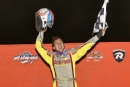 Devin Moran celebrates his $22,000 victory in Atomic Speedway's Castrol FloRacing Night in America event. (Michael Boggs)