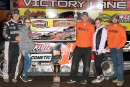Race winner Dale McDowell celebrates with his team at Crossville (Tenn.) Speedway after Friday's Schaeffer's Spring Nationals win. (Thomas Hendrickson/dt52photos.com)