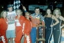 Ray Cook celebrates in victory lane at Carolina Speedway in Gastonia, N.C., following his $4,000 victory in the 27th annual Shrine Race on May 12, 1999. (Todd Turner)