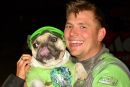 A fan's French Bulldog, Jeggy, helped Tyler Erb celebrate his May 14 victory at MRP Raceway Park in Williamsburg, Ohio. (Steve Alcorn)