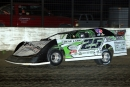 Jason Feger led the final 24 laps of May 17's Corn Belt Clash event at Davenport (Iowa) Speedway's half-mile oval. (John Vass)