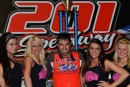 Dustin Linville enjoys victory lane May 18 at 201 Speedway at the Walter Combs Memorial. (B. Meyer Images)