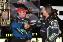 Chris Madden (left) receives a congratulatory handshake from his chassis builder Scott Bloomquist after winning the NDRL Tennessee Tipoff finale at Smoky Mountain Speedway. (rickschwalliephotos.com)