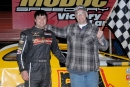 Brandon Overton enjoys victory lane after his $5,000 triumph at Modoc (S.C.) Speedway's Modoc 100. (Bill Scruggs)