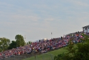 The Batesville (Ark.) Motor Speedway hillside fills up with fans Aug. 16 before the Comp Cams Topless 100. (rickschwalliephotos.com)