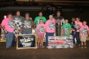 Dillow family members join R.J. Conley in victory lane after his $5,000 victory in Portsmouth (Ohio) Raceway Park's Fred Dillow Memorial on Aug. 16. (Tyler Carr)