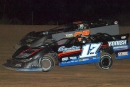 Doug Glessner heads to an Aug. 23 Super Late Model victory that wrapped up the championship at Marion Center (Pa.) Speedway. (Derek Bobik)