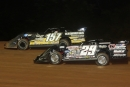 Mike Marlar (157) led early before Darrell Lanigan (29) went by for his 14th WoO victory of the season Aug. 29 at Lernerville Speedway in Sarver, Pa. (pbase.com/cyberslash)