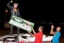 Will Vaught celebrates his MARS-sanctioned Four-State Championship victory Sunday at Monett (Mo.) Speedway. (Ron Mitchell)
