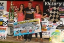 Jimmy Mars enjoys victory lane after winning the WISSOTA-sanctioned Punky Manor Challenge of Champions for the sixth time in his career on Sept. 20 at Red Cedar Speedway in his hometown of Menomonie, Wis. (Chris Burback)