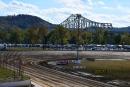 The bridge over the Ohio River looms over Portsmouth (Ohio) Raceway Park, host track of the Optima Batteries Dirt Track World Championship for the third consecutive year. (rickschwalliephotos.com)
