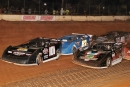 Winner Casey Roberts (101) leads a restart on his way to a $5,000 Carolina Clash victory at Carolina Speedway on Oct. 18. (Howard Lawson)