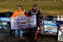 Scott James poses with Dirt Track World Championship promoter Carl Short after winning the Jim Dunn Memorial Non-Qualifiers' Race on Sunday afternoon at Portsmouth (Ohio) Raceway Park. (rickschwalliephotos.com)