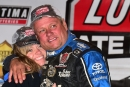 Don O'Neal and his girlfriend Anna celebrate his Lucas Oil Late Model Dirt Series title Oct. 19 at Portsmouth (Ohio) Raceway Park. (rickschwalliephotos.com)