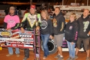 Scott Bloomquist's crew enjoys victory lane after his $10,000 Blue-Gray 100 victory at Cherokee Speedway, his fourth in the Gaffney, S.C., event. (Howard Lawson)
