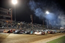 The four-wide parade lap at Lucas Oil Speedway in Wheatland, Mo., where Jared Landers dominated the April 11 Lucas Oil Midwest LateModel Racing Association event. (Todd Boyd)