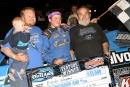 Four generations of Sheppards celebrate Brandon's $15,000 Illini 100 victory April 18 on the World of Outlaws Series at Farmer City Raceway. (Jim DenHamer)