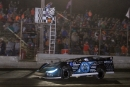 Scott Bloomquist flashes under the checkered flag to win Friday night's Lucas Oil Late Model Dirt Series Spring Spectacular at Tri-City Speedway in Pontoon Beach, Ill. (stlracingphotos.com)