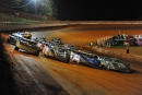 The four-wide salute May 2 at Tazewell (Tenn.) Speedway, where Billy Ogle Jr. grabbed a $6,000 Old Man's Garage Spring Nationals victory. (mrmracing.net)