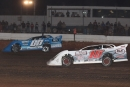 Winner Jesse Stovall (00) races away from Cole Wells (10) en route to his May 2 MARS victory at Springfield (Mo.) Raceway. (Ron Mitchell)