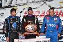 Winner Jonathan Davenport is falnked by runner-up Jesse Stovall (left) and third-place Jared Landers (right) May 21 after MLRA's Cowboy Classic in Wheatland, Mo. (rickschwalliephotos.com)