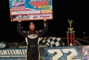 Gregg Satterlee shows of his big paycheck May 22 after winning Bedford (Pa.) Speedway's Johnny Grum Tribute. (wrtspeedwerx.com)