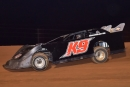 Hometown driver Dana Eiland steers toward his first Southern Thunder Late Model Tour victory May 23 at East Alabama Motor Speedway in Phenix City. (Eric Gano)