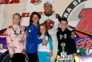 Matt Miller brings his family to victory lane May 24 to celebrate his Sunoco American Late Model Series victory at Eldora Speedway. (Jim DenHamer)