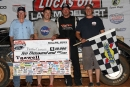The K&L Rumley team enjoys victory lane after Jonathamn Davenport's May 29 Lucas Oil Late Model Dirt Series victory at Tazewell (Tenn.) Speedway. (Jim DenHamer)