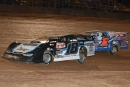 Chase Junghans (18) pulled away from front-row mate Chub Frank (1*) at the initial green flag and scored a flag-to-flag win in Friday's 30-lap Firecracker 100 preliminary feature at Lernerville Speedway in Sarver, Pa. (Jason Shank)