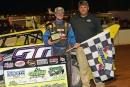 Ryan King picked up $4,000 on Aug. 1 at Cochran (Ga.) Motor Speedway for his first career NeSmith Dirt Late Model Series victory. (Brian McLeod/NeSmith Media)