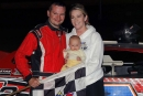 Casey Noonan enjoys a little family time in victory lane after his Aug. 1 Sunoco American Late Model Series victory at Oakshade Raceway. (Jim DenHamer)