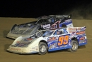 Winner Jared Miley (H1) and runner-up Boom Briggs (99B) mix it up Aug. 30 at the ULMS-sanctioned Stephanie Eckl Memorial at Thunder Mountain. (Barry Lenhart)