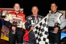 Winner John Kaanta is flanked by runner-up Jake Redetzke (left) and third-place Don Shaw (right) after winning Sept. 3's Silver 1000 at Proctor (Minn.) Speedway. (shooterguyphotos.com)