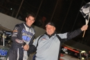 Timothy Culp receives congratulations for his second consecutive victory in the Oct. 3 Gumbo Nationals at Greenville (Miss.) Speedway. (Best Photography)