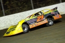 Billy Moyer Jr. cruises to victory in Oct. 9's first heat at Magnolia Motor Speedway to earn the pole for the Magnolia State Cotton Pickin' 100. (heathlawsonphotos.com)